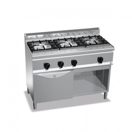 Cocina de 3 fuegos a gas + horno GN 1/1 1 - 7(Kw) . 2 - 12(Kw) 1200x600x900 mm Bertos