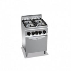 Cocina de 4 fuegos a gas + horno 2 - 3.5(Kw) . 2 - 6(Kw) 600x600x900 mm Bertos