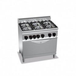 Cocina de 6 fuegos a gas + horno 3 - 3.5(Kw) . 3 - 6(Kw) 900x600x900 mm Bertos