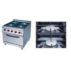 Cocina a Gas 4 Fuegos+ horno :700x700x(850+70)mm, medida horno:560x600x290mm  COH4-WM