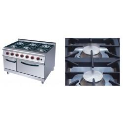Cocina a Gas 6 Fuegos+ horno :1050X700X(850+70)mm, medida horno:560x600x290mm COH6-WM