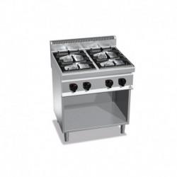 Cocina de 4 fuegos a gas con mueble 2 - 3.5(Kw) . 2 - 7(Kw) 800x700x900 mm Bertos