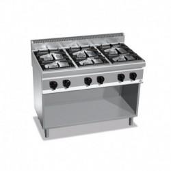 Cocina de 6 fuegos a gas con mueble Maxi Power 6 - 7(Kw) 1200x700x900 mm Bertos