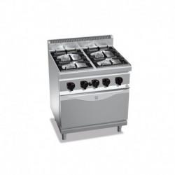 Cocina de 4 fuegos a gas + horno GN 2/1 2 - 3.5(Kw) . 2 - 7(Kw) . Quemador horno 7.8(Kw) 800x700x900 mm Bertos