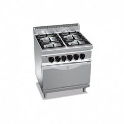 Cocina de 4 fuegos a gas + horno eléctrico GN 1/1 2 - 3.5(Kw) . 2 - 7(Kw) 800x700x900 mm Bertos