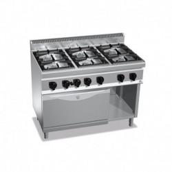 Cocina de 6 fuegos a gas + horno 2- 3.5(Kw) . 4 - 7(Kw) . Quemador de horno 4(Kw) 1200x700x900 mm Bertos