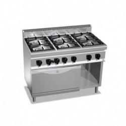 Cocina de 6 fuegos a gas + horno GN 2/1 Maxi Power 6 - 7(Kw) . Quemador de horno - 7.8(Kw) 1200x700x900 mm Bertos