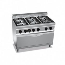 Cocina de 6 fuegos a gas + horno Maxi 3 - 3.5(Kw) . 3 - 7(Kw) . Quemador de horno - 12(Kw) 1200x700x900 mm Bertos