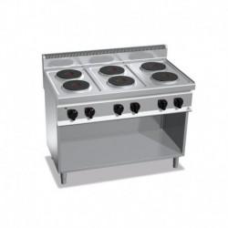 Cocina de 6 fuegos con pie eléctrica 15.6 (Kw) 1200x700x900 mm Bertos