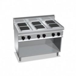 Cocina de 6 fuegos cuadrados con pie eléctrica 15.6 (Kw) 1200x700x900 mm Bertos
