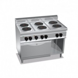 Cocina de 6 fuegos eléctrica + horno eléctrico GN 1/1 18.6 (Kw) 1200x700x900 mm Bertos
