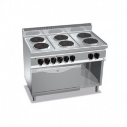 Cocina de 6 fuegos eléctrica + horno eléctrico GN 2/1 23.1 (Kw) 1200x700x900 mm Bertos