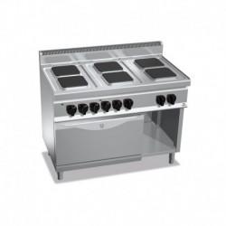 Cocina de 6 fuegos cuadrados eléctrica + horno eléctrico GN 2/1 23.1 (Kw) 1200x700x900 mm Bertos