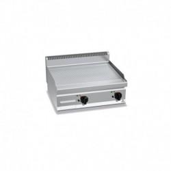 Plancha Fry-top de Acero Rectificado Ranurado, Sobremesa a Gas de 800x700x290 mm Bertos