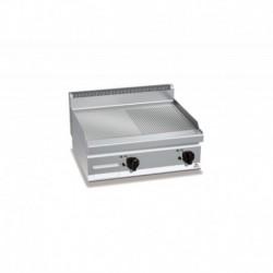 Plancha Fry-top de Acero Rectificado Mixta, Sobremesa Eléctrica de 800x700x290 mm Bertos