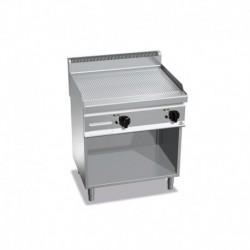 Fry-top de acero rectificado a gas acanalada con mueble