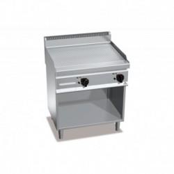 Fry-top de acero rectificado eléctrico acanalada con mueble