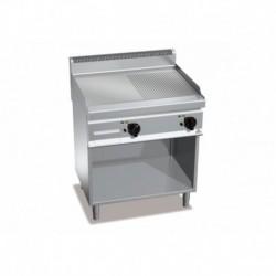 Fry-top de acero rectificado eléctrico semiranurada con mueble