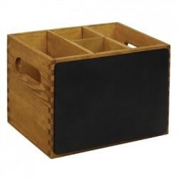 Caja de madera para utensilios con pizarra