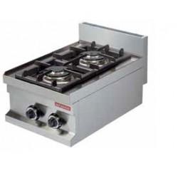 cocina gas sobremesa 2 fuegos 400x600x265
