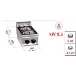 Cocina 2 fuegos a gas sobremesa serie 600 eco power 600x300x290